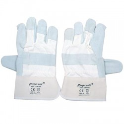GLOVES LEATHER GREY / WHITE