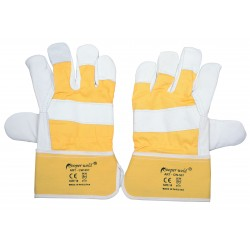 GLOVES LEATHER YELLOW /GREY